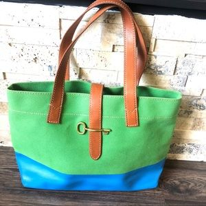 Fossil Austin Fab Canvas Tote Green And Blue